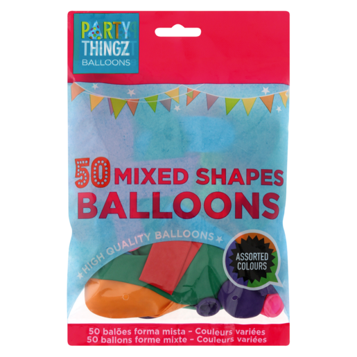 Party Thingz Mixed Shape Balloons 50 Pack