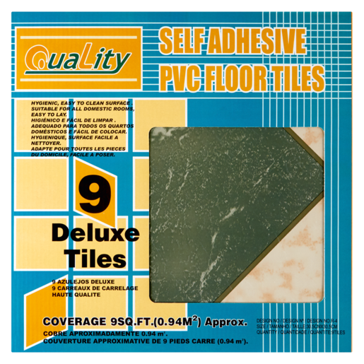 Quality Grey Green Brown Self Adhesive PVC Floor Tiles 9 Pack