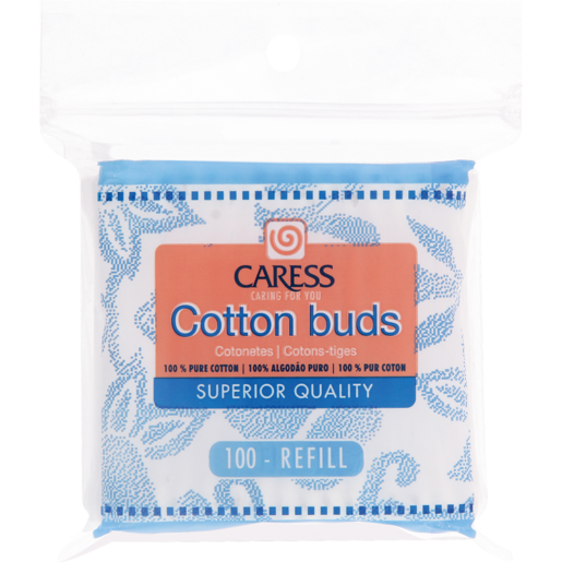Caress 100 Cotton Buds Zipper Bag