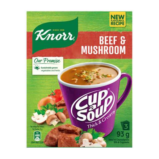 Knorr Cup-A-Soup Thick & Creamy Beef & Mushroom Instant Soup Packets 3 x 31g