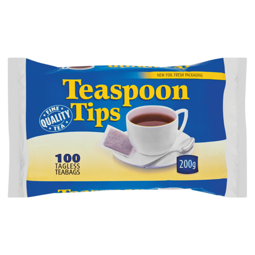 Teaspoon Tips Tagless Teabags 100 Pack