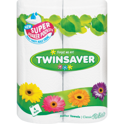 Twinsaver White Roller Towels 4 Pack