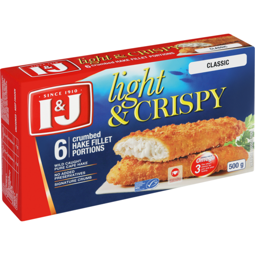 I&J Light & Crispy Classic 6 Crumbed Hake Fillet Portions 500g