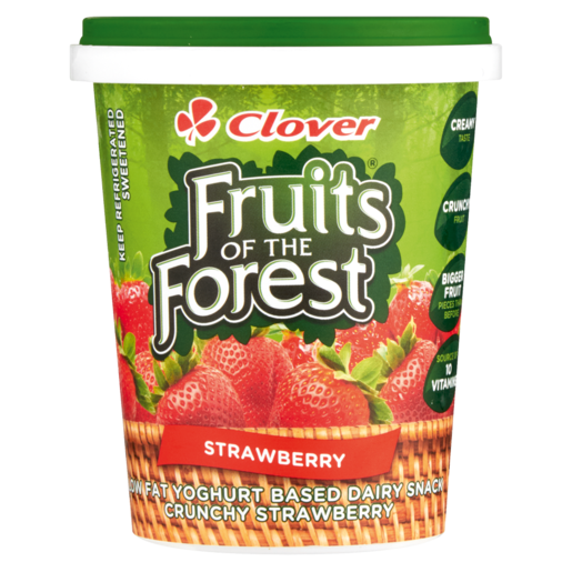 Clover Fruits Of The Forest Strawberry Flavoured Low Fat Yoghurt Based Dairy Snack 500g