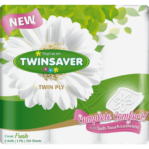 Twinsaver Luxury White Twin Ply Toilet Paper 9 Pack