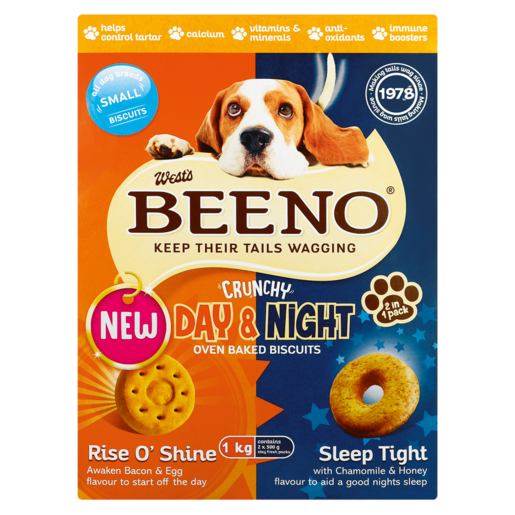 Beeno Day & Night Bacon & Egg/Chamomile & Honey Flavoured Small Dog Biscuits 1kg