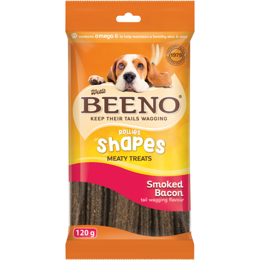 Beeno Smoked Bacon Flavoured Rollies Dog Treats 120g
