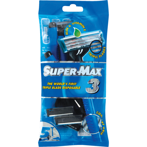 Super-Max Triple Blade Disposable Razors 5 Pack