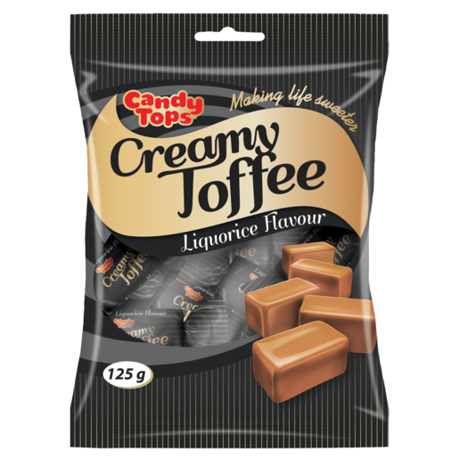 Candy Tops Liquorice Flavoured Creamy Toffee 125g