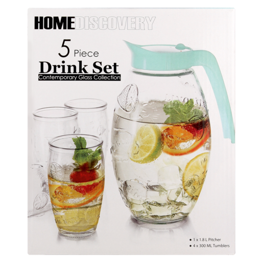 Home Discovery Lemonade Glass Drink Set 5 Piece