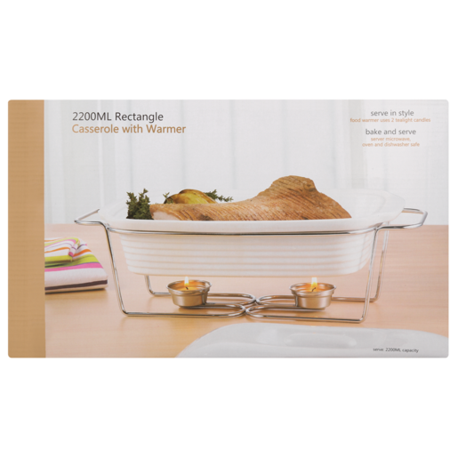 Rectangle Casserole Dish With Warmer 2200ml