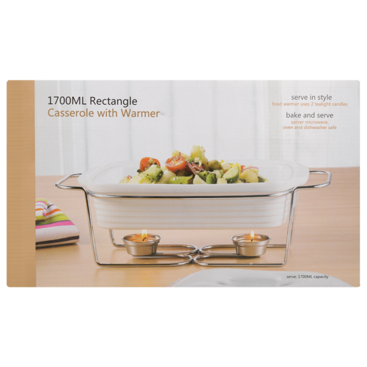 Rectangle Casserole Dish With Warmer 1700ml
