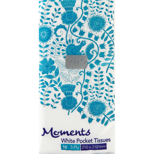 Moments 3 Ply Facial Pocket Tissues 10 Pack