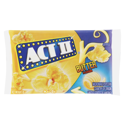 Act Ii Butter Flavoured Microwave Popcorn 85g Popcorn Chips Snacks Popcorn Food Cupboard Food Shoprite Za