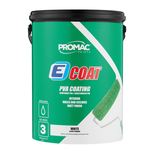Promac Paints E-Coat PVA Coating Interior Walls & Ceilings Matt White Paint