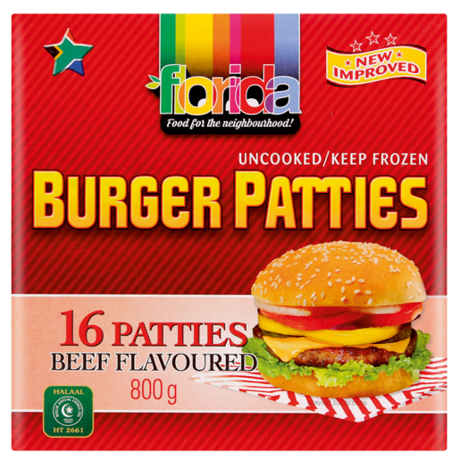 Florida Frozen Beef Flavoured Burger Patties 800g