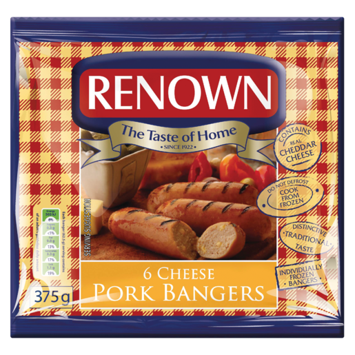Renown Cheese Pork Bangers 375g