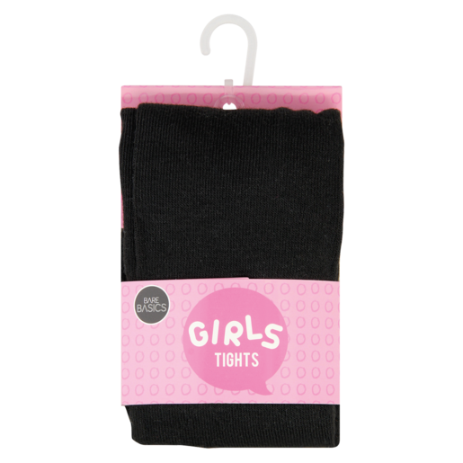 Bare Basics Plain Black Girls Tights 6-7 Years