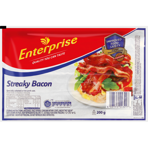 Enterprise Streaky Back Bacon 200g