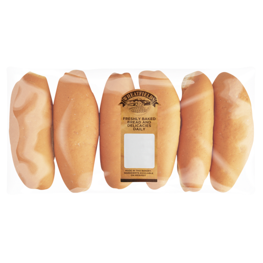 Wheatfields White Hotdog Rolls 6 Pack