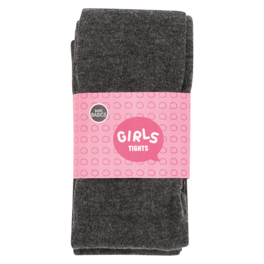 Bare Basics Plain Charcoal Girls Tights 6-7 Years