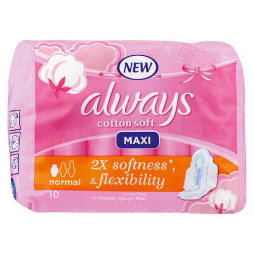 Always Maxi Cotton Soft Normal Sanitary Pads 10 Pack