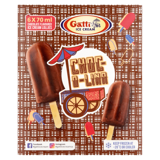 Gatti Choc-O-Lina Ice Cream Sticks 6 x 70ml