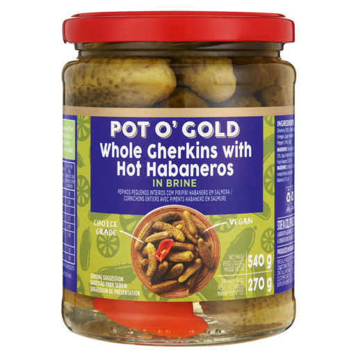 Pot O Gold Whole Gherkins With Hot Habaneros 540g