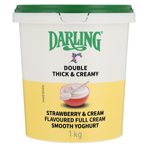 Darling Double Thick & Creamy Strawberry & Cream Flavoured Full Cream Smooth Yoghurt 1kg