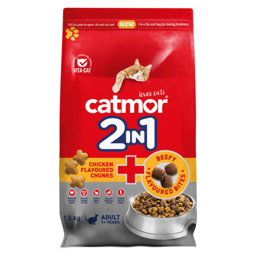 Catmor 2-In-1 Chicken Flavoured Chunks & Beefy Flavoured Bites Adult Cat Food 1.5kg